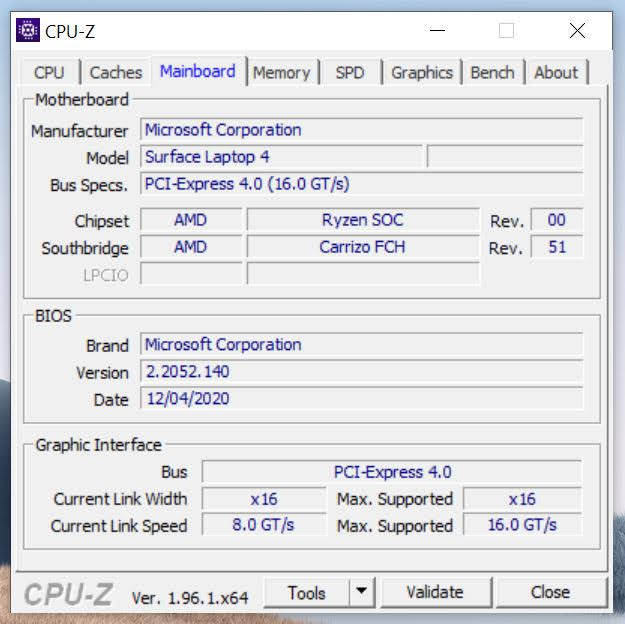 Surface Laptop 4 CPU-Z płyta główna