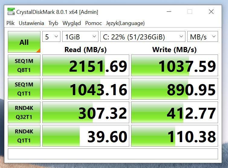 Surface Laptop 4 CrystalDiscMark pomiar szybkości dysku