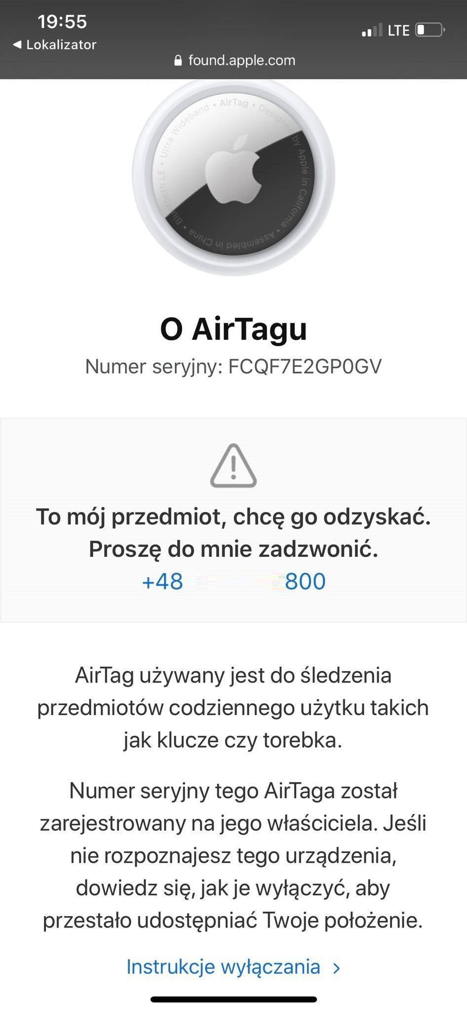 dane kontaktowe znalezionego airtag