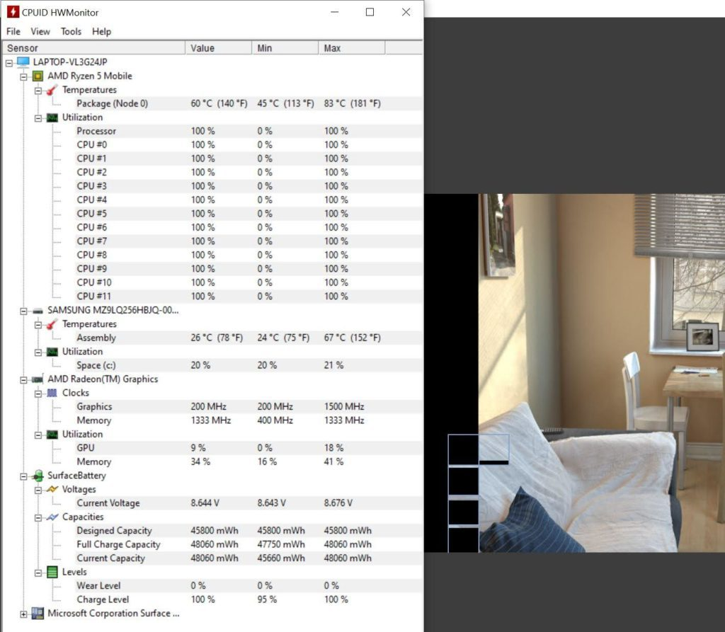 Surface Laptop 4 HWMonitor temperatury
