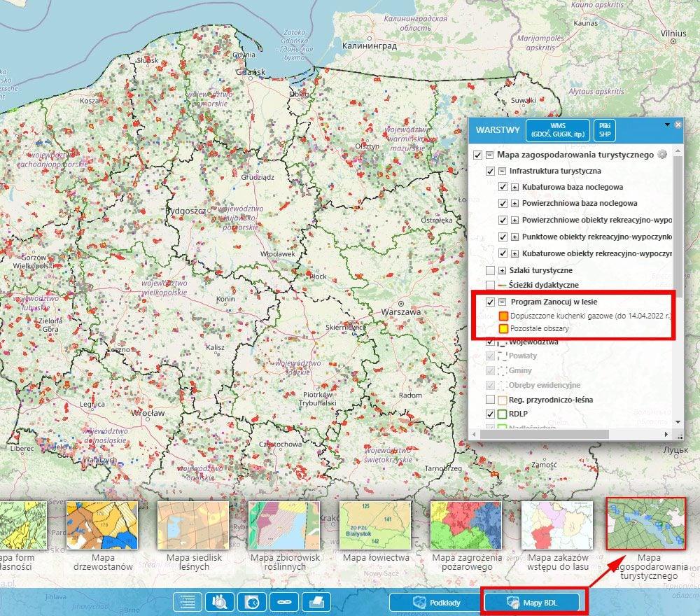 interaktywna mapa banku danych o lasach