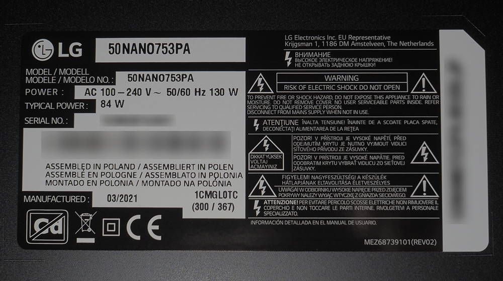 nalepka znamionowa telewizora LG 50NANO753