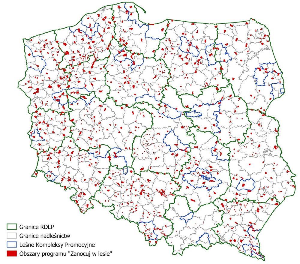 mapa obszarów programu zanocuj w lesie