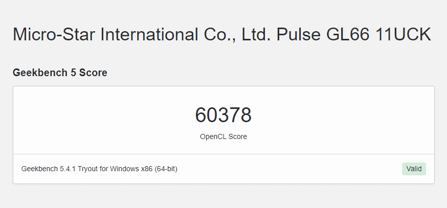 rtx 3050 geekbench 5 opencl