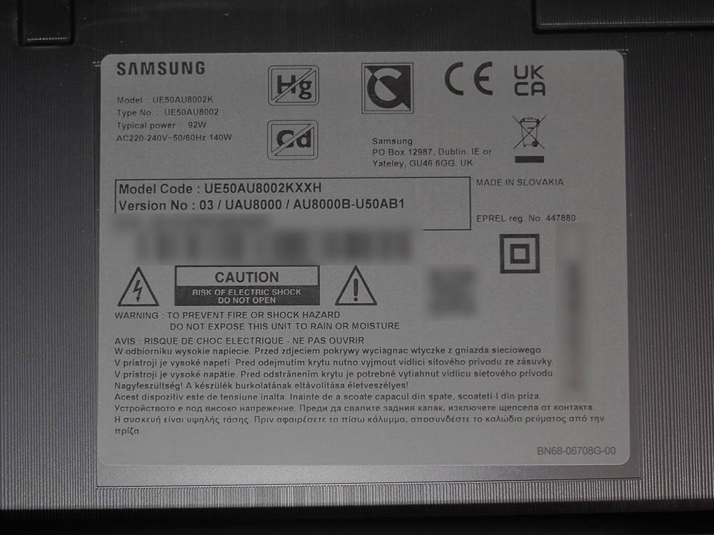 nalepka znamionowa telewizora samsung 50UA8002