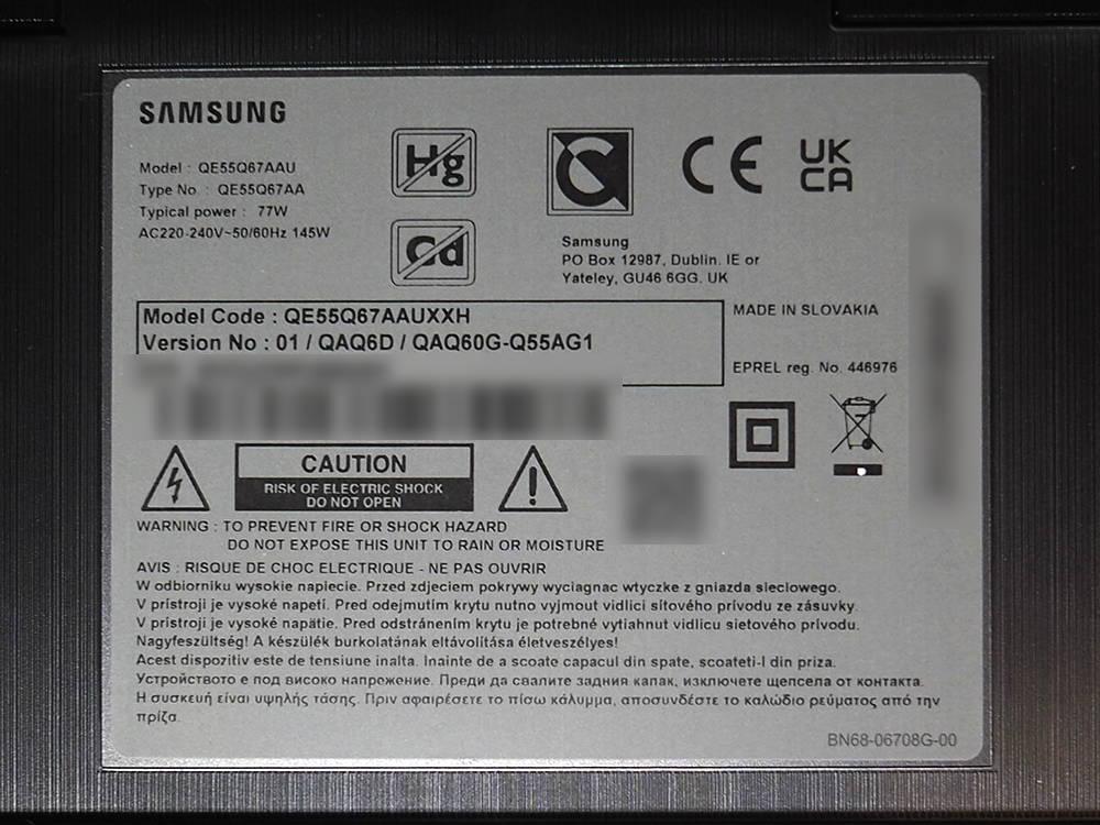 nalepka znamionowa telewizora samsung qe55q67a