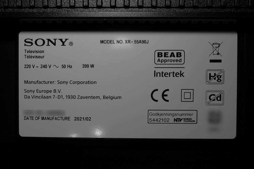 nalepka znamionowa telewizora sony xr550a90j