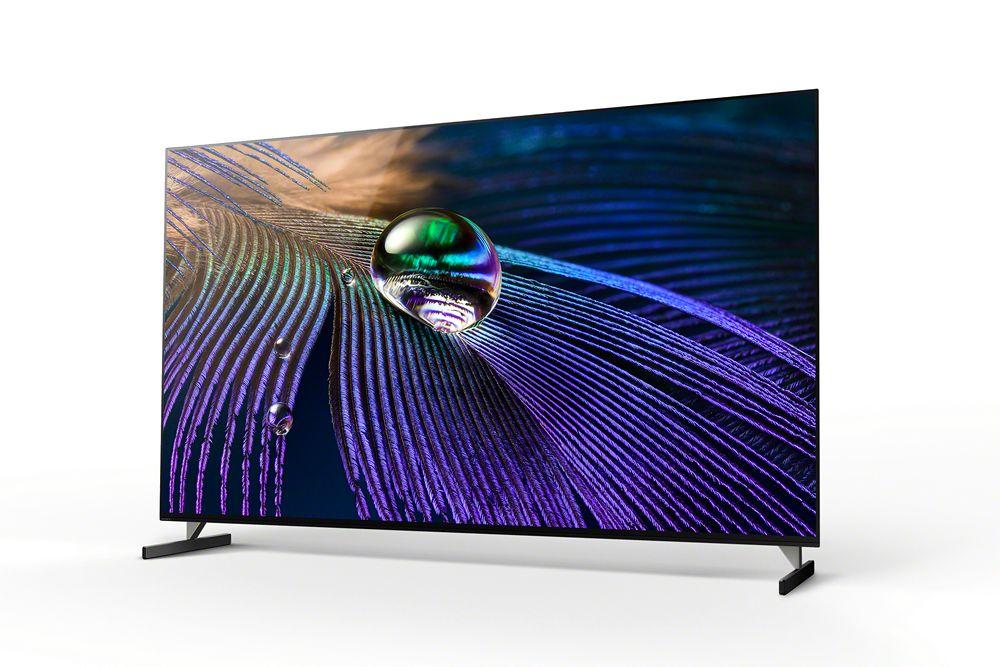 telewizor sony xr55a90j na nóżkach ułożonychrównolegle do obudowy