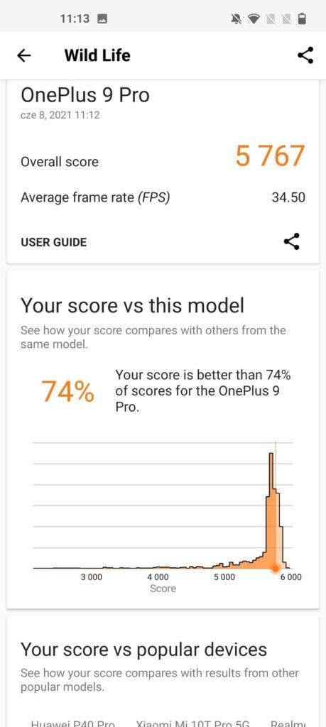 3D Mark Wilf Life porównanie OnePlus 9 Pro
