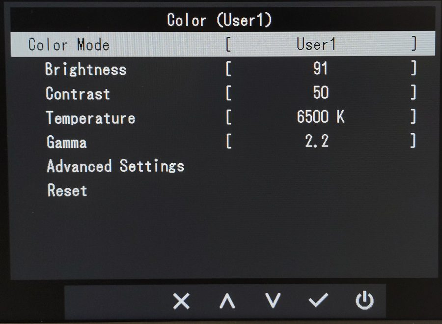 Eizo EV2480 menu Kolor