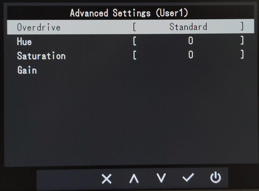 Eizo EV2480 menu kolor ustawienia zaawansowane