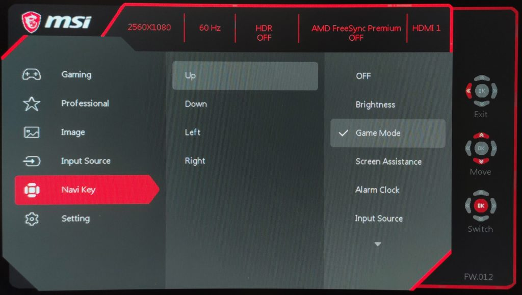 MSI Optix MAG301CR2 Curved navi key