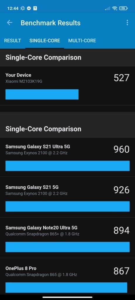 benchmark single core Redmi Note 10 5G
