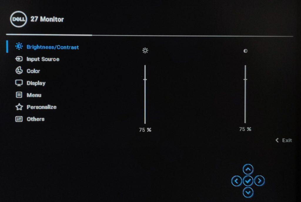 Dell P2721Q menu OSD brughtness