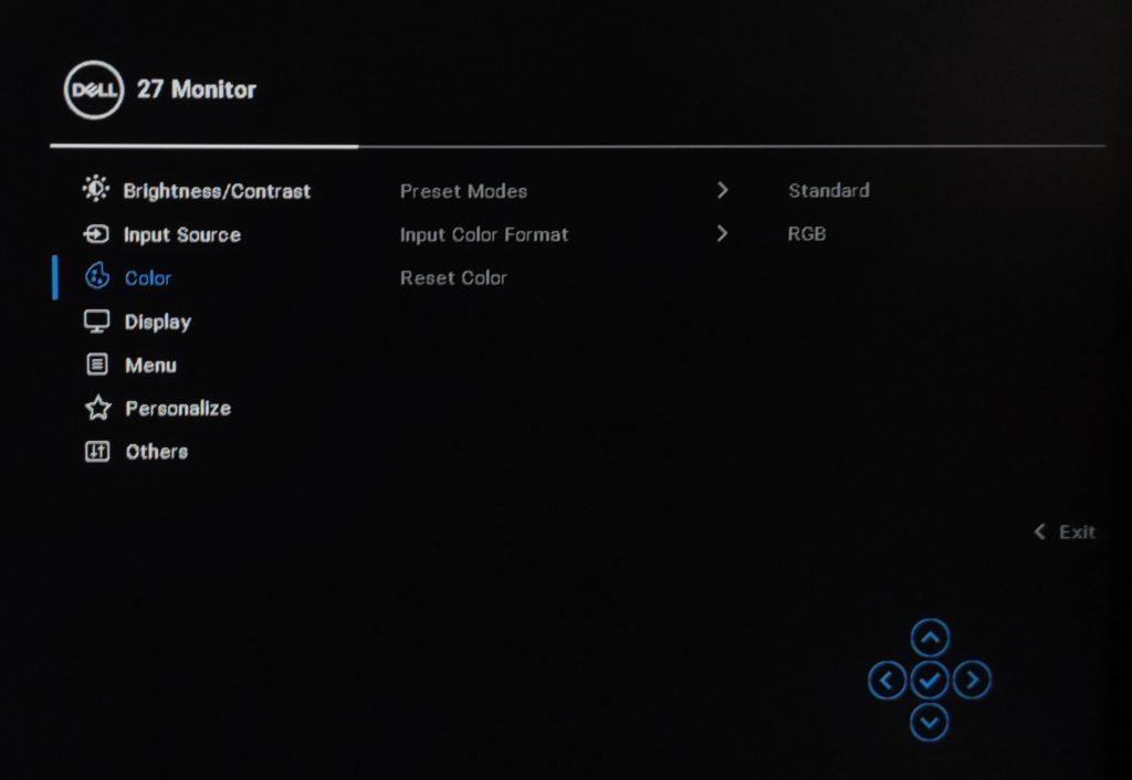 Dell P2721Q menu OSD color