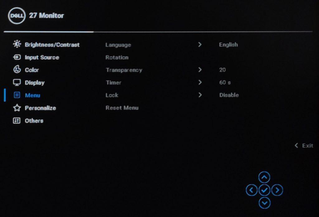 Dell P2721Q menu OSD