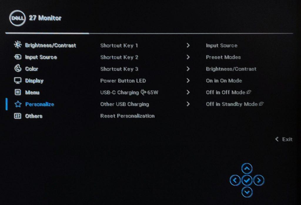 Dell P2721Q menu OSD personalize