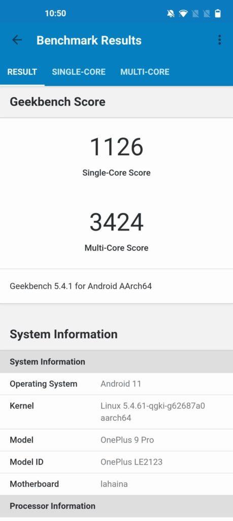 Geekbench 5 OnePlus 9 Pro