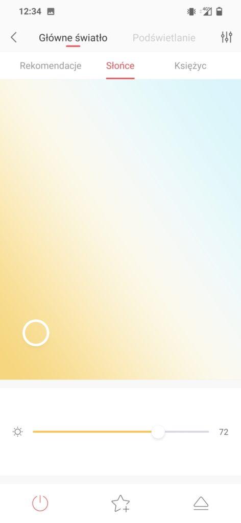 temperatura głównego światła w aplikacji Yeelight