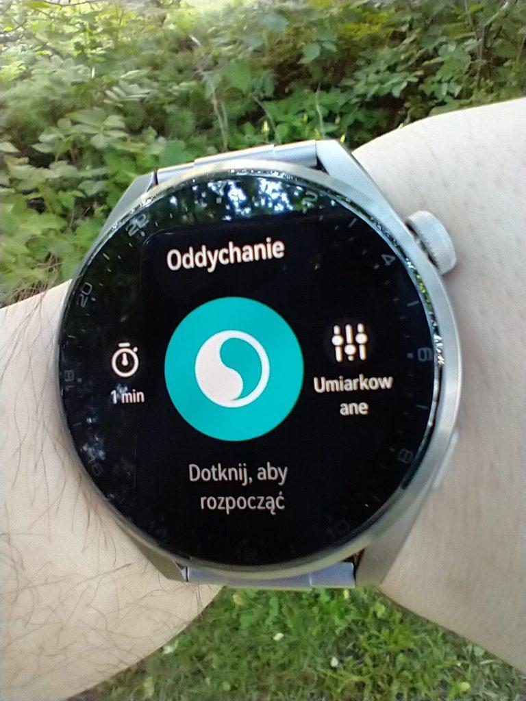 Huawei Watch 3 Pro Elite ćwiczenie z oddechem