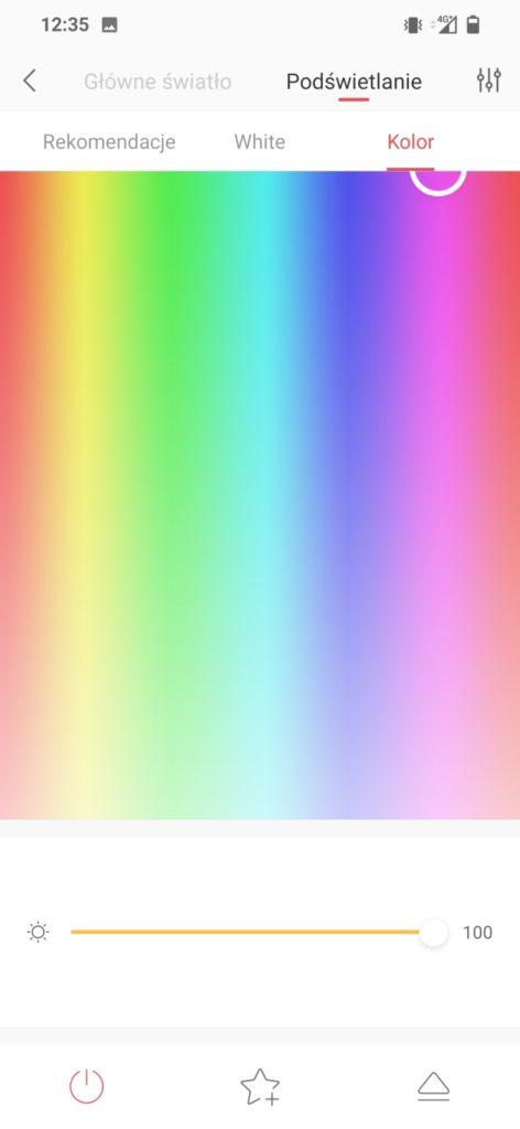 ustawienia koloru rgb w aplikacji Yeelight