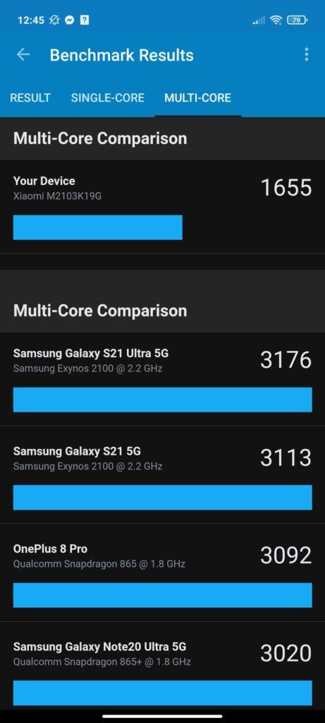 Multi Core Comparison benchmark Redmi Note 10 5G