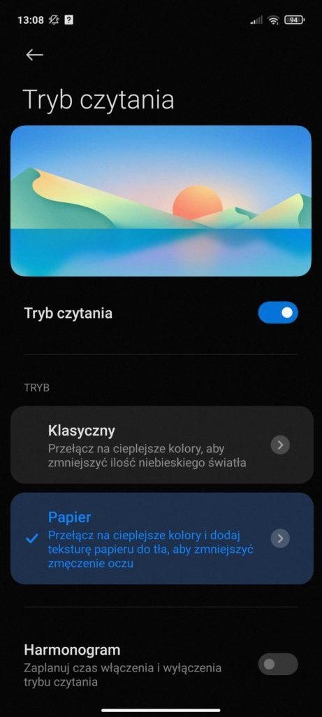 tryb czytania w Redmi Note 10 5G