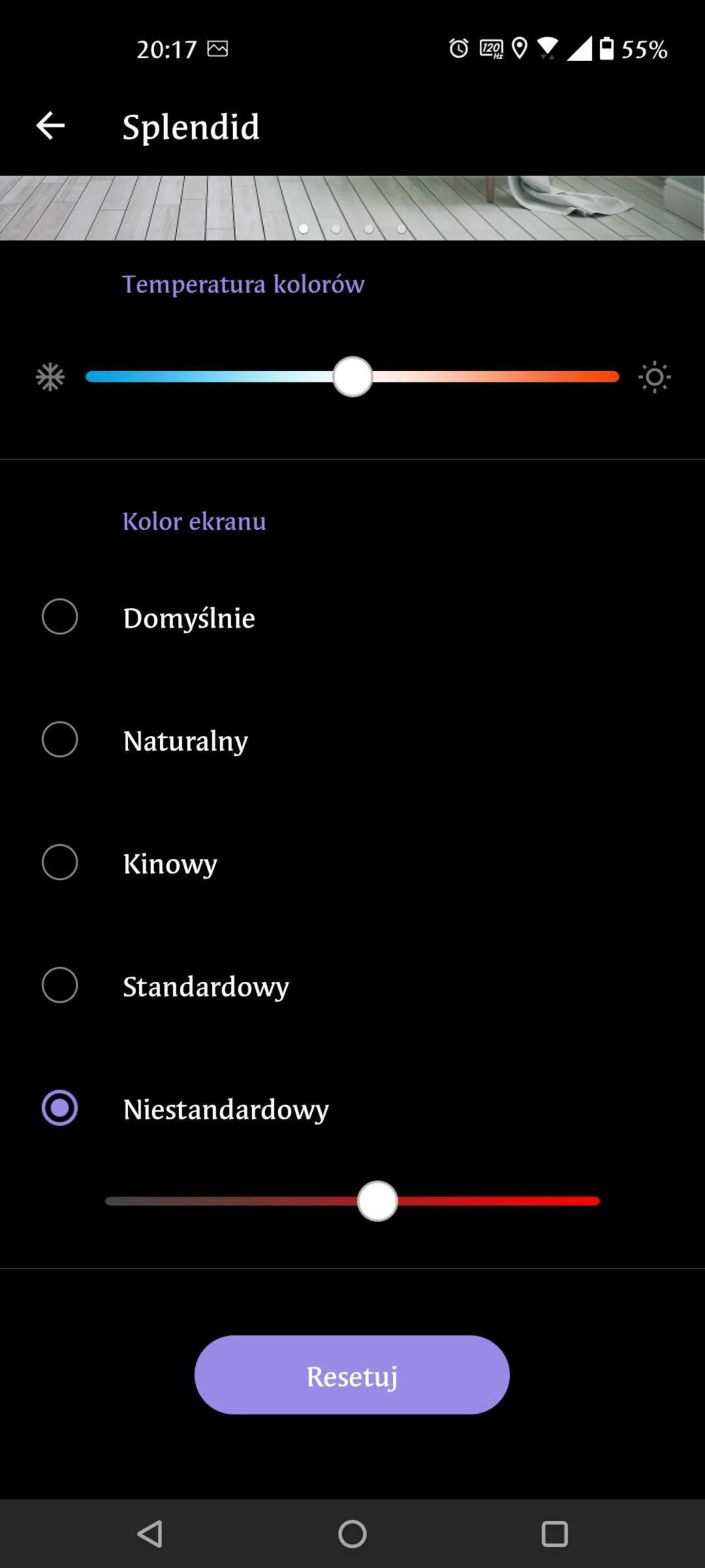 kolor ekranu ustawienia asus zenfone 8