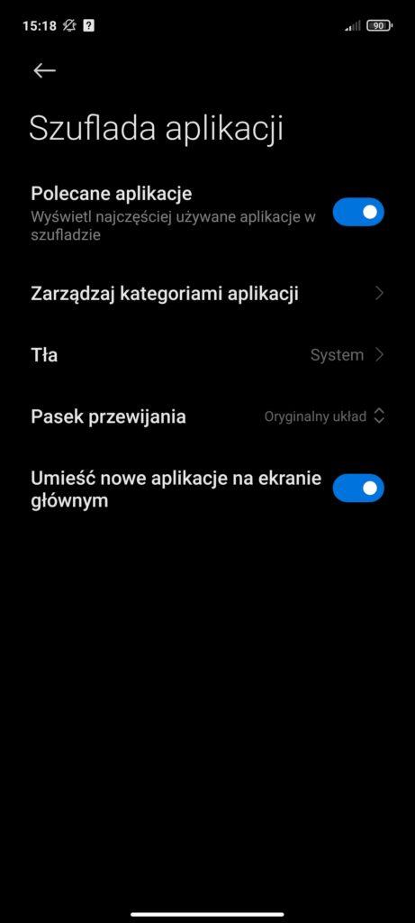 zarządzanie szufladą aplikacji w Redmi Note 10 5G