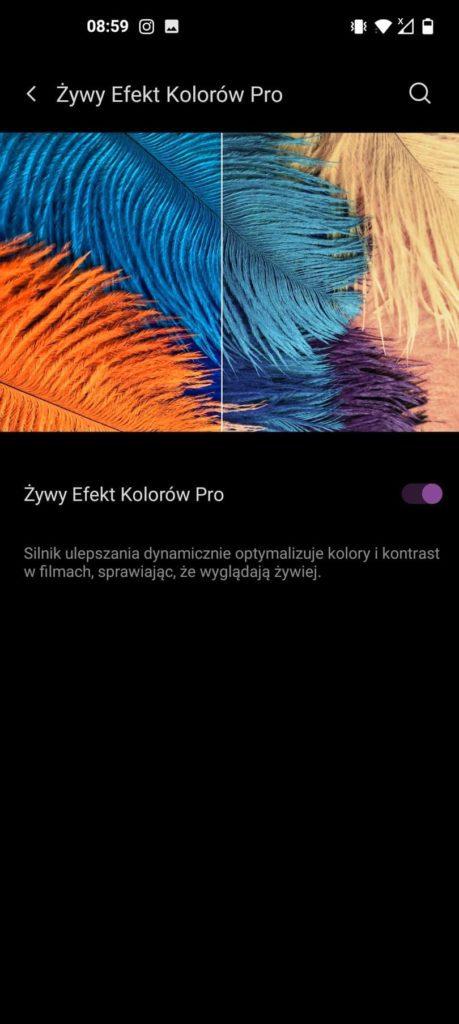 żywy efekt kolorów Pro w OnePlus 9 Pro