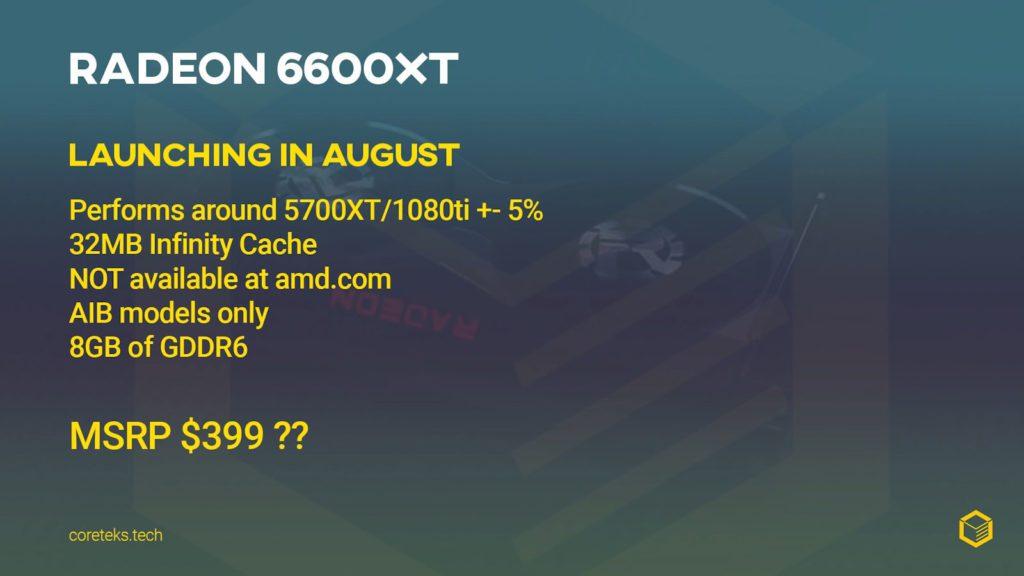 przeciek informacji o amd radeon rx 6600 xt