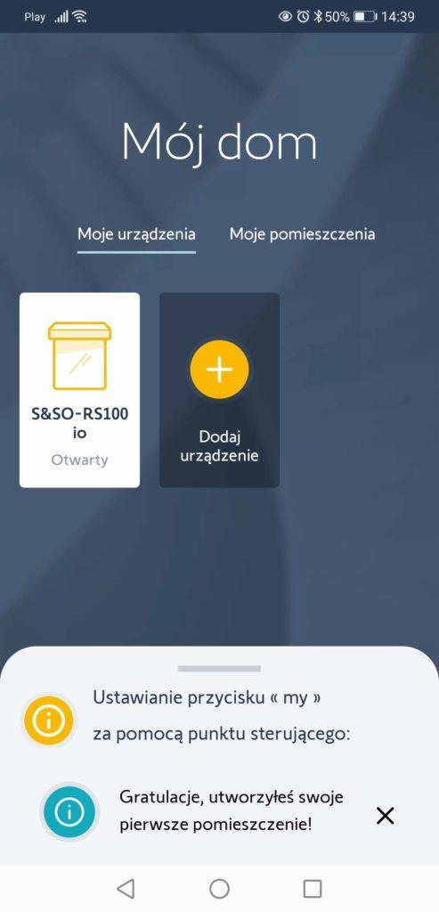 Aplikacja TaHoma ustawianie pomieszczeń