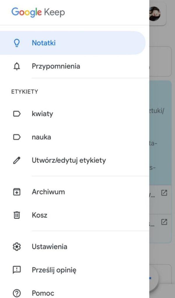 Google Keep aplikacja