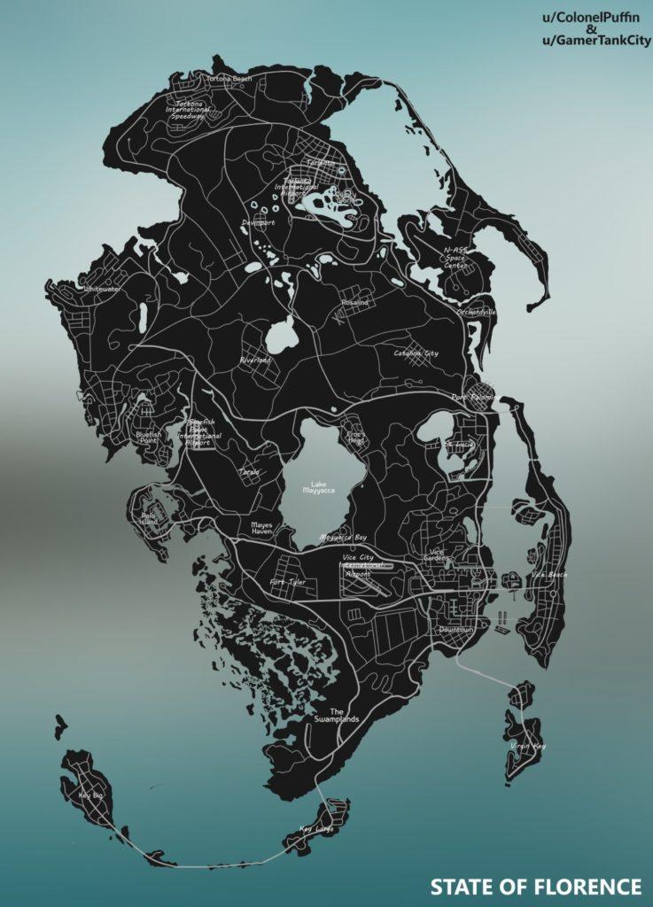 mapa GTA 6 z Reddita