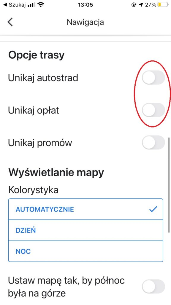 Jak uniknąć autostrad w Mapach Google