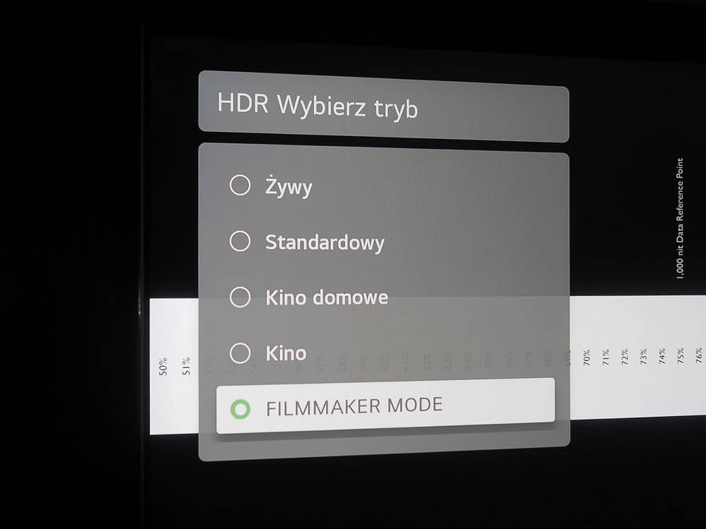 tryby hdr dostępne w menu telewizora lg 55nano863pa