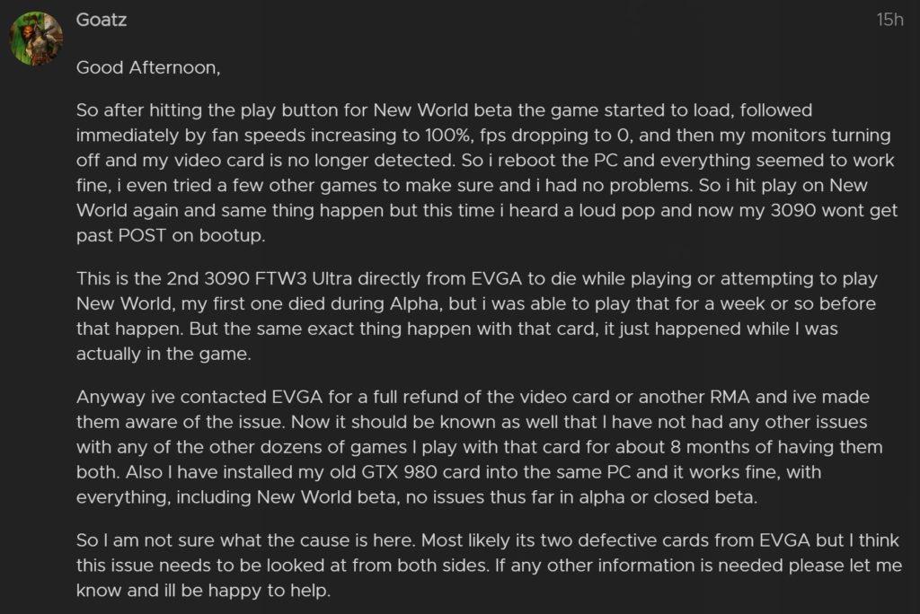 opis awarii geforce rtx 3090 podczas gry new world