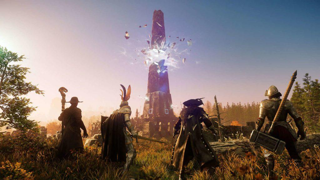 screen new world przedstawiający tajemniczą wieżę