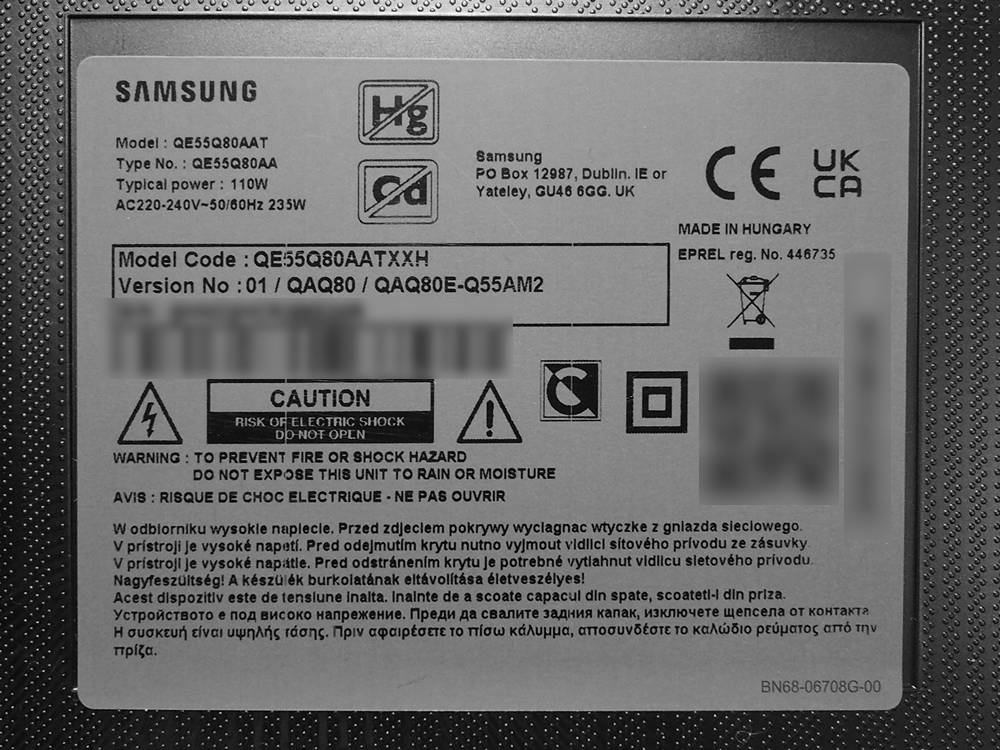 tablica znamionowa telewizora samsung qe55q80a