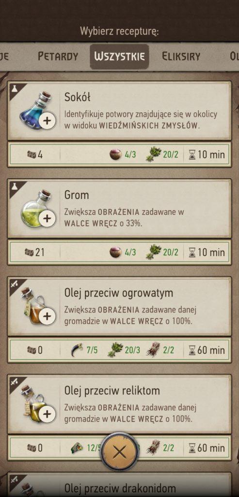 Wiedźmin Pogromca Potworów crafting