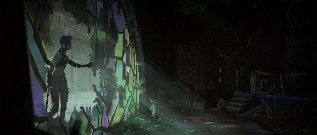 jinx w oknie w serialu netflix o nazwie arcane z uniwersum league of legends