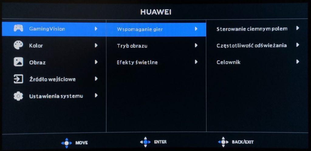 ustawienia gamingvision na monitorze huawei mateview gt