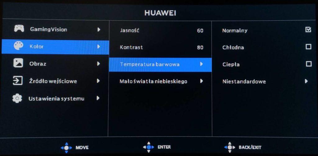 ustawienia koloru w menu huawei mateview gt