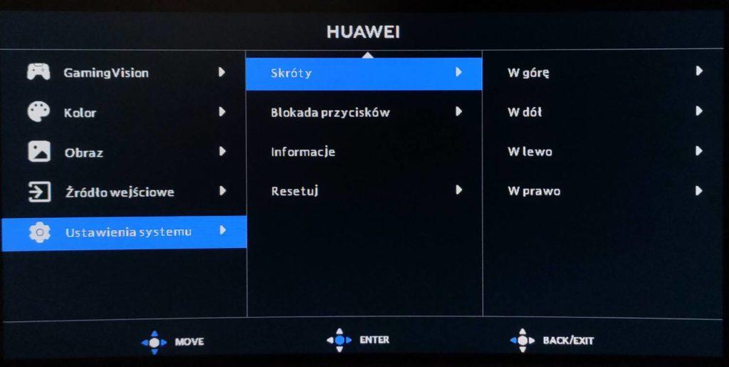 ustawienia systemu w monitorze huawei mateview gt