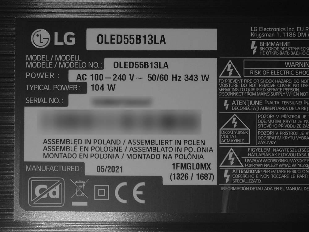 tabliczka znamionowa telewizora lg oled55b1