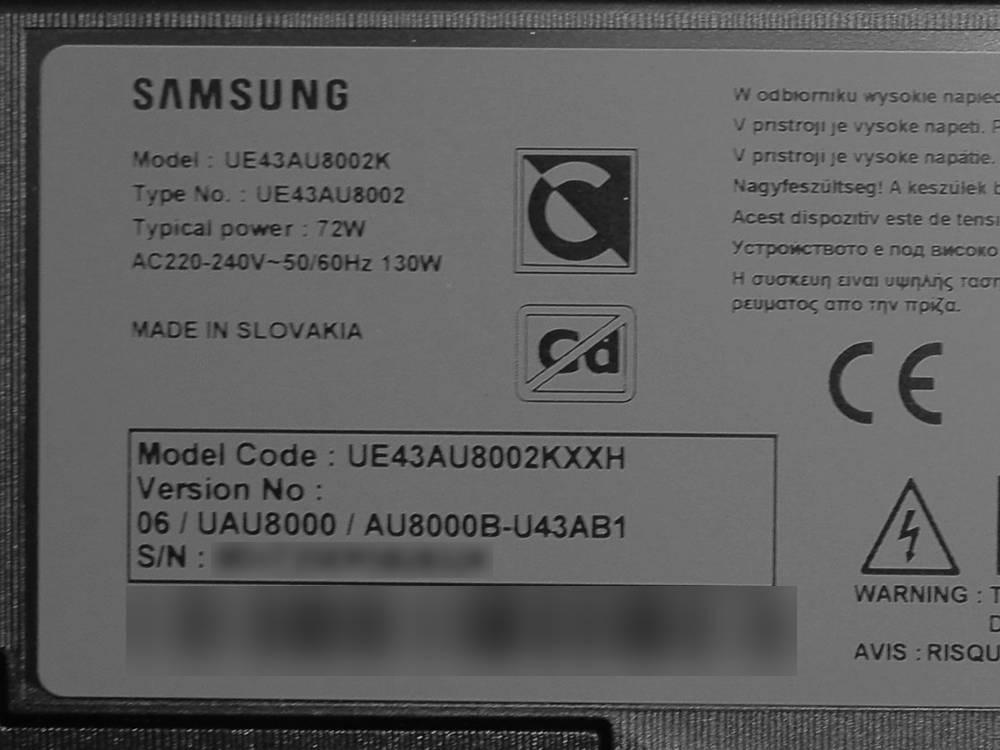 nalepka znamionowa telewizora samsung 43au8002
