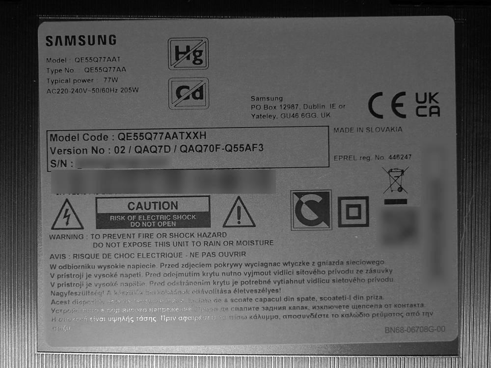 nalepka znamionowa telewizora samsung qe55q77aa