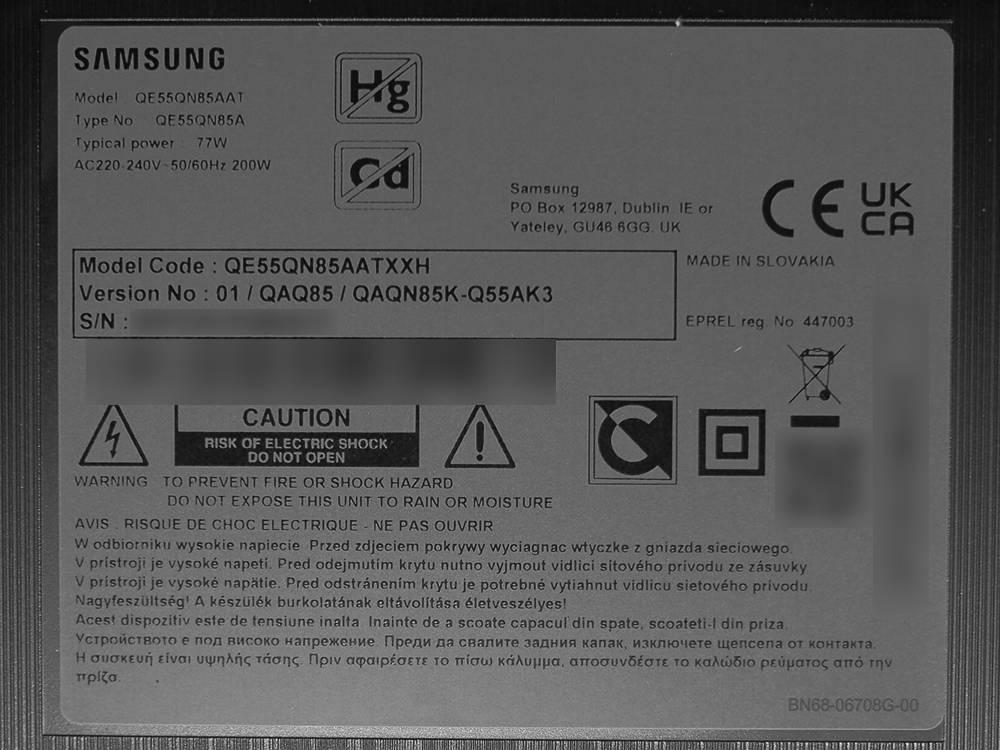 nalepka znamionowa telewizora samsung qe55qn85a