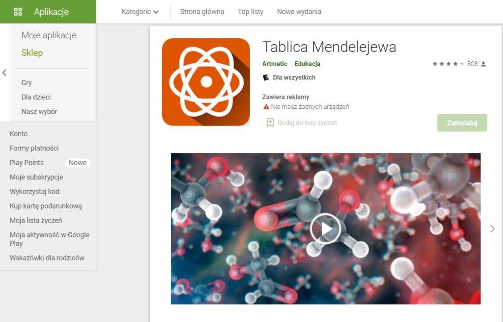Tablica Mendelejewa aplikacja