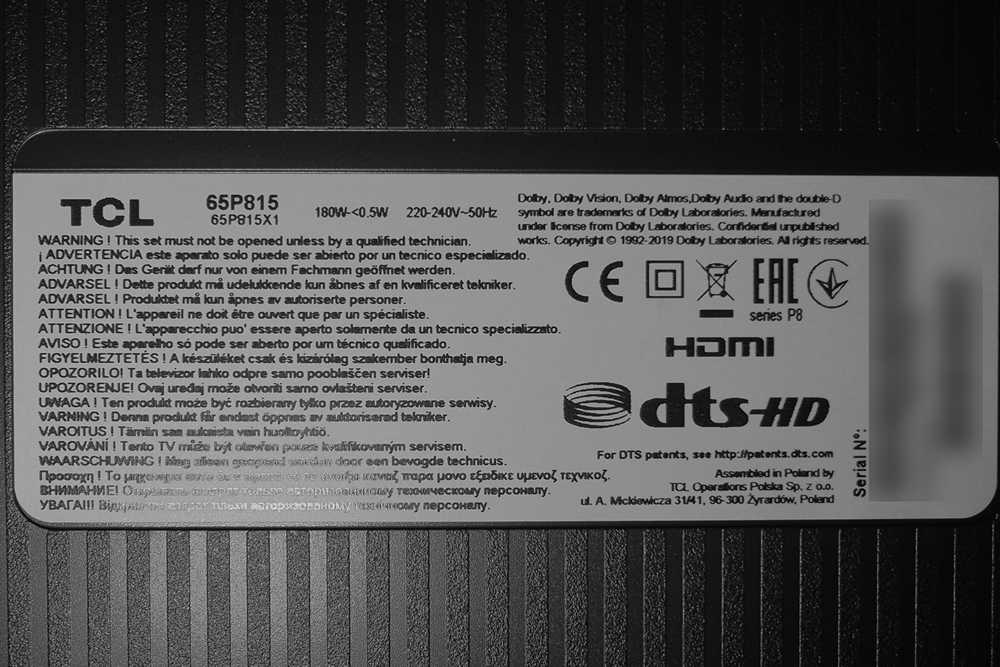 nalepka znamionowa telewizora tcl 65p815